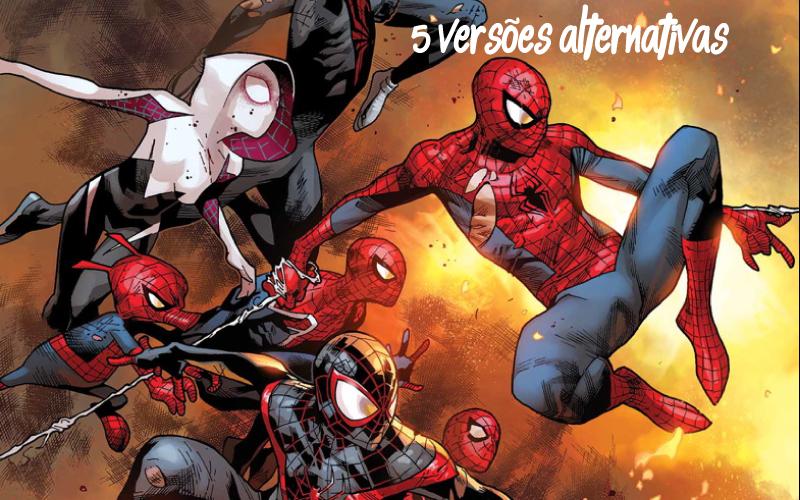 Capa com várias versões do Homem-Aranha