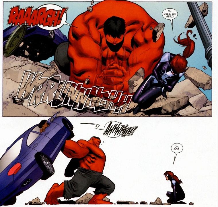 Imagem da Garota-Aranha lutando contra o Hulk vermelho