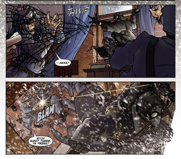 Imagem do Homem-Aranha Noir fugindo dos policiais