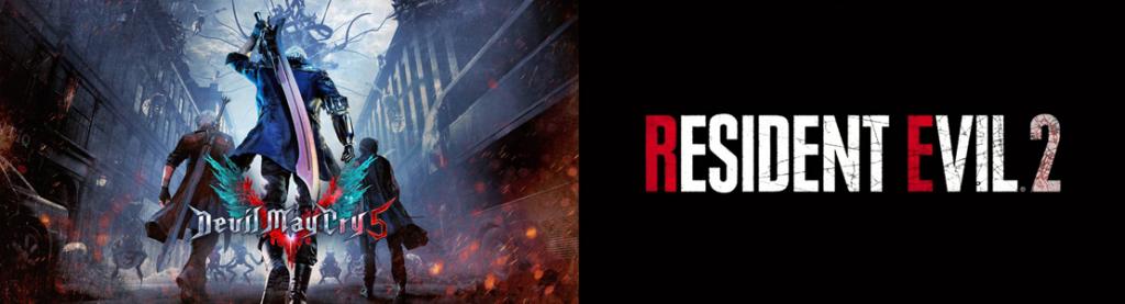 Capa dos jogos Devil May Cry 5 e Resident Evil 2 Remake