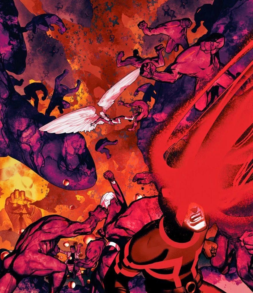 Destroçados - imagem que mostra ciclope e anjo lutando no limbo contra criaturas