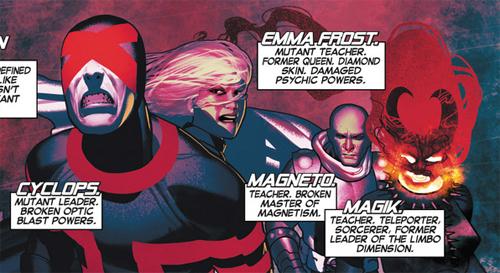Destroçados - Imagem com Ciclope, Emma Frost, Magia e Magneto.