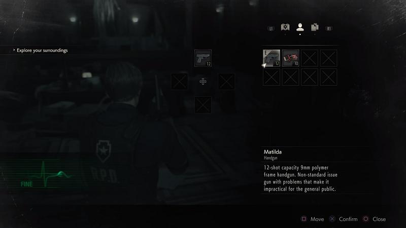 Imagem que mostra o sistema de inventário, semelhando ao Resident Evil 7