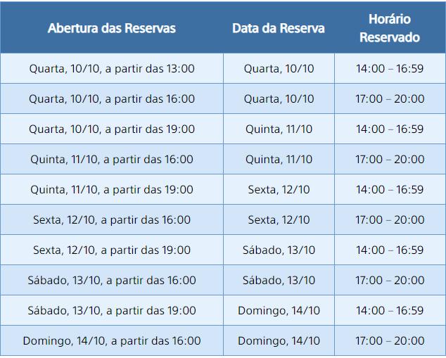 Tabela com os horários que você pode reservar para jogar na BGS