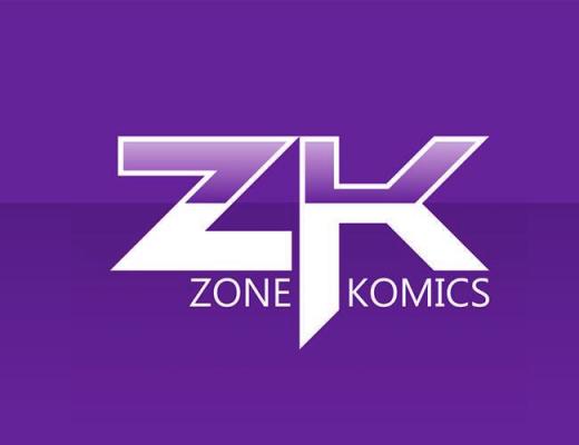 """Imagem com o logo da editora """"Zone Komics"""" em um fundo, metade roxo claro e metade roxo escuro"""