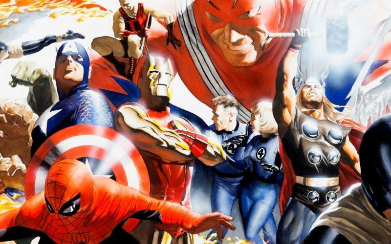 Marvels - Imagem de capa do post que mostra os herois da marvel na arte de Alex Ross