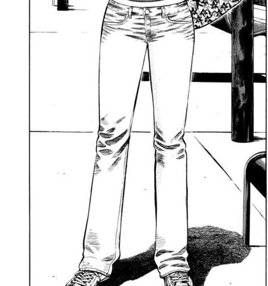 Exemplo de como ele desenha calça jeans. Criando um efeito de dobras, que parece muito uma calça de verdade