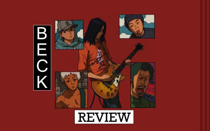 Capa do review do mangá Beck. Mostra os 5 integrantes da banda