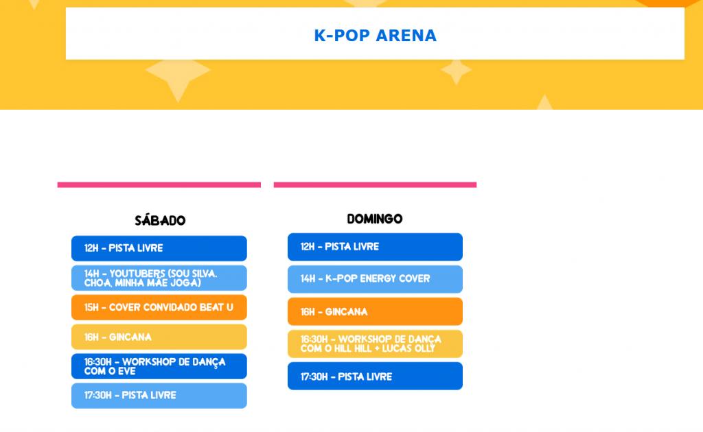 Imagem dos horários na qual o espaço de K-pop terá de atividades