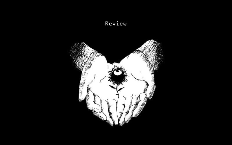 Imagem com uma mão aberto, segurando uma flor que tem um olho