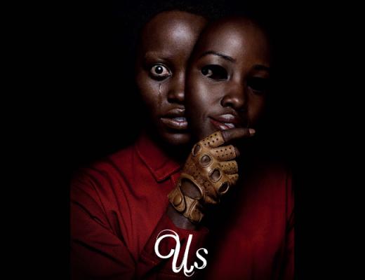 Capa com o cartaz do filme: Uma mulher afrodescendente chorando, enquanto segura uma máscara igual a seu roto, só que sorrindo