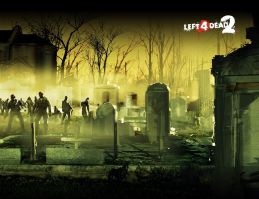 Imagem de um cemitério com o logo e esquema de cores de Left 4 Dead 2